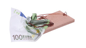 Mouse trap with 100 euro bank note Stock Images