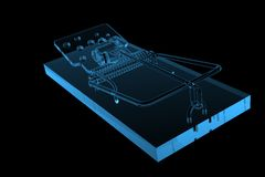 Mouse Trap 3D rendered xray blue Stock Photo