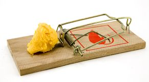 Mouse Trap. Set mouse trap with cheese isolated on white background stock images