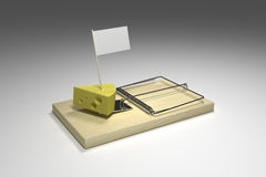 Mouse trap. Loaded with cheese and your tempting message Stock Images