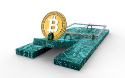 Mouse trap with bitcoin as bait isolated. 3d illustration Royalty Free Stock Photo