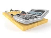 Mouse trap with calculator. Isolated on white background Royalty Free Stock Photography