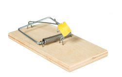 A mouse trap with cheese Stock Photography