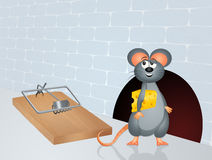 Mouse and trap with cheese Stock Photo