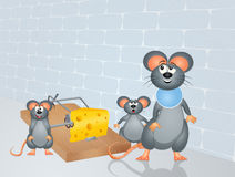 Mouse and trap with cheese Royalty Free Stock Photo