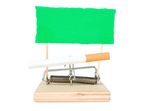 A mouse trap with cigarette Royalty Free Stock Photography