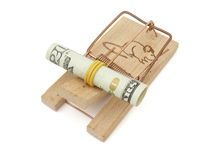 Mouse trap  and dollar Royalty Free Stock Photos