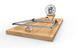 Mouse trap with dollar coin as bait isolated Stock Image