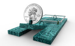 Mouse trap with dollar coin as bait isolated. 3d illustration Royalty Free Stock Image