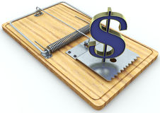 Mouse trap and dollar sign  on white background Royalty Free Stock Photos