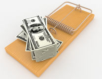 Mouse trap and dollars Royalty Free Stock Images
