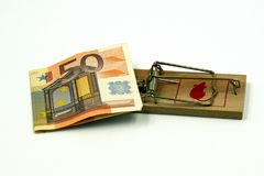 Risky investment - trap. Mouse trap with 50 euro biljet as concept of investing money in a risky investment Stock Images