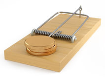 Mouse trap with golden money. Golden money in mouse-trap on white  background Stock Photos