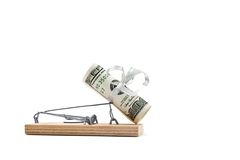 Mouse trap with hundred dollars Stock Images