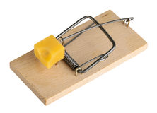 Mouse trap isolated on a white, clipping path Royalty Free Stock Images