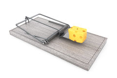 Mouse trap with a lpiece of cheese. 3d Rendering Royalty Free Stock Photo
