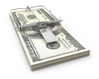 Mouse trap made of bundle of dollars Stock Images
