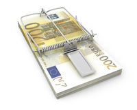 Mouse trap made of pack of euro Stock Photos
