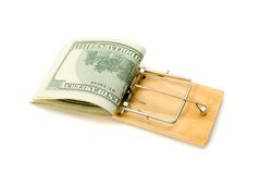 Mouse trap with money Royalty Free Stock Images