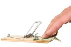 A mouse trap with money Stock Photos