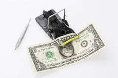 Mouse trap with money and drug Royalty Free Stock Images