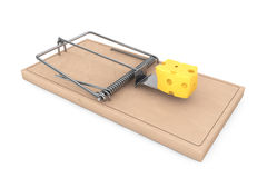 Mouse trap with a piece of cheese. 3d Rendering Royalty Free Stock Photography