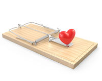 Mouse trap with a red heart Stock Photos
