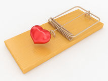 Mouse trap with a red heart Stock Photography
