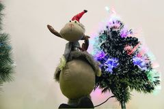 Mouse and Christmas tree Stock Images