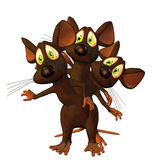 Mouse triplets. 3d rendering of 3 mice as illustration in cartoon style Royalty Free Stock Photo