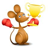 Mouse Trophy Boxing Gloves Royalty Free Stock Photos