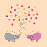 Mouse. Two mouse and hearts love royalty free illustration