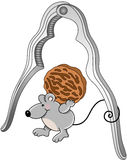Mouse with walnut and nutcracker Royalty Free Stock Image