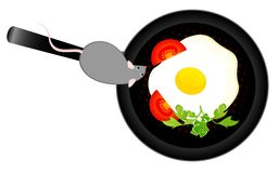 Mouse wants to eat the fried eggs Stock Photos