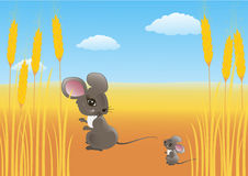 Mouse in a wheat field Royalty Free Stock Photography
