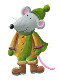 Mouse in winter clothes. Acrylic illustration of Mouse in winter clothes Stock Photos