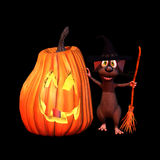 Mouse Witch with Jack O Lanter. Mouse with a witch hat and broom stick leaning against a lit jack o' lantern. Isolated on a black background royalty free illustration