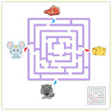 Mouse and wolf with their food cheese and meat. Game for children: go through the maze and find the right answer Royalty Free Stock Images