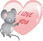 Mouse writing on heart. Vector Stock Image