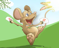 Mouse year. Happy mouse run with butterfly Royalty Free Stock Images