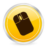 Mouse yellow circle icon Stock Photos