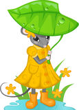Mouse with umbrella. Mouse in yellow dress, hiding under green leaf Royalty Free Stock Image