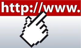 Mousefinger op URL Stock Afbeeldingen