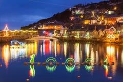 Mousehole bożonarodzeniowe światła Cornwall Obrazy Stock