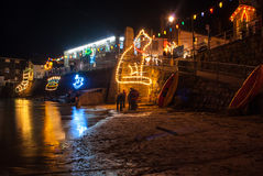 Mousehole Christmas Lights Stock Images