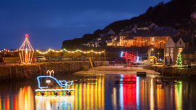 Mousehole Christmas Lights Cornwall Royalty Free Stock Photos