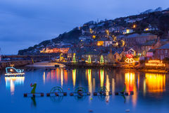 Mousehole Christmas Lights Cornwall Stock Photography
