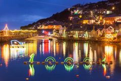 Mousehole Christmas Lights Cornwall. Beautiful display of Christmas Lights at Mousehole Harbour Cornwall England UK Europe Stock Images