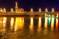 Mousehole Christmas Lights Cornwall. Beautiful display of Christmas Lights at Mousehole Harbour Cornwall England UK Europe Royalty Free Stock Images