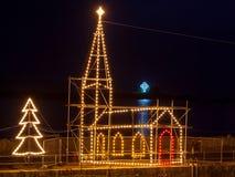 Mousehole Christmas Lights Cornwall Stock Image